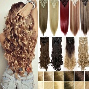 """26"""" FULL HEAD STRAIGHT CLIP IN HAIR EXTENSIONS*NWT"""